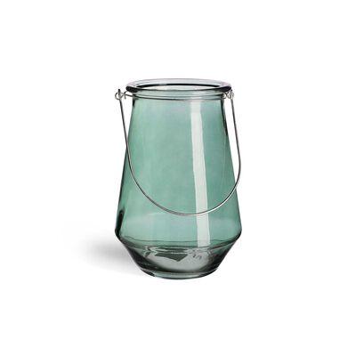 Windlicht Glas grün ca D:12,5 x H:20 cm