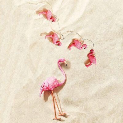 Lichterkette Flamingo für innen und außen, ca L:180cm, pink