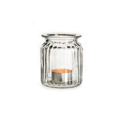 Windlicht gerillt aus Glas, ca D:7cm x H:9cm, klar