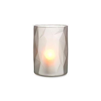Windlicht Glas hellgrau ca D:12,5 x H:17,5 cm