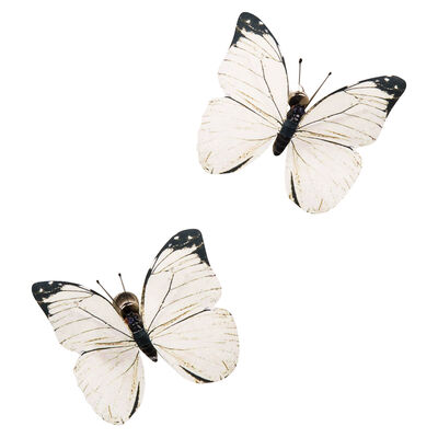 Schmetterlinge Clip, 2 Stk ca L:8cm, creme