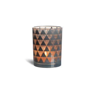 Windlicht Raute Glas hellgrau ca D:10 x H:12,5 cm