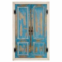 Wanddeko Spiegel aus Mischholz, blau