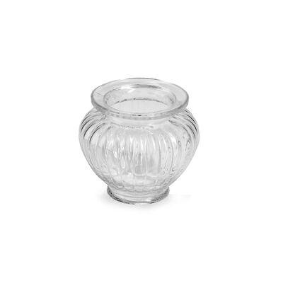 Kleine Glasvase gerippt, ca D:8cm x H:10cm, klar