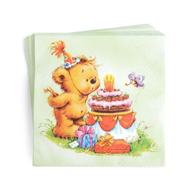 Serviette Geburtstagsbär bunt 20 Stück
