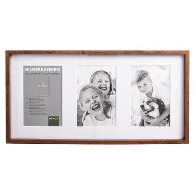 Bilderrahmen für 3 Fotos 10x15 cm Mischholz/Glas braun ca L:42 x B:21,5 x H:2,5 cm