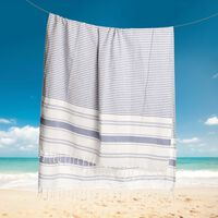 Strandtuch Streifen blau ca B:100 x L:180 cm (100% Baumwolle)