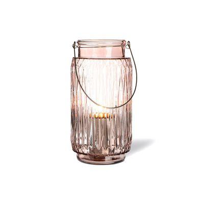 Windlicht Glas rosa ca D:15 x H:28 cm