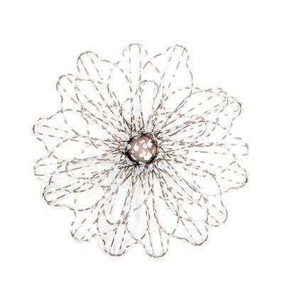 Wanddeko Blume Draht grau ca D:44 cm