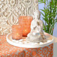 Teelichtglas, ca D:7,5cm x H:8cm, orange