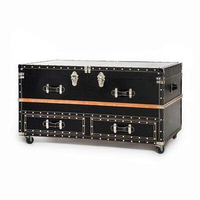 Couchtisch Koffer Tannenholz schwarz ca L:100 x B:60 x H:53 cm (Bezüge: 100% Kunstleder)