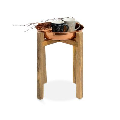 Beistelltisch Kupfer Mangoholz ca D:39 x H:48 cm
