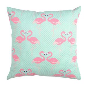 Kissen Flamingos mintgrün ca B:45 x L:45 cm (Kissenbezug: 100% Baumwolle)
