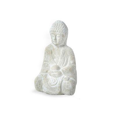 Buddha Steingut weiß ca L:17 x B:14 cm