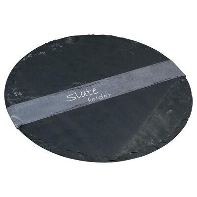 Schieferplatte rund grau ca D:30 cm