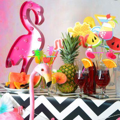 Lichtobjekt Flamingo 12LED, ca H:52cm, pink