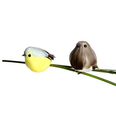 Vogel auf Clip 2er-Set bunt ca L:6,5 cm