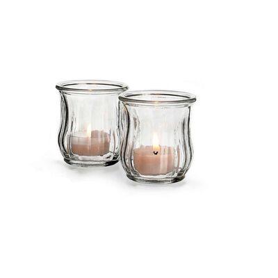 2 kleine Windlichter aus Glas, ca H:6,5cm, klar