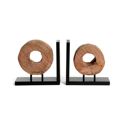 Buchstütze 2er-Set Mangoholz natur ca L:40 x T:8 x H:19,5 cm
