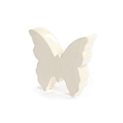 3D Deko-Schmetterling aus Steinzeug, ca 12x11cm, weiß