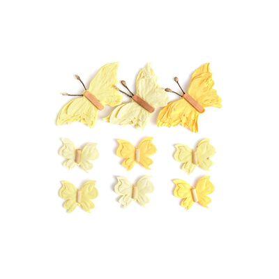 Sticker Schmetterling 3D 9er-Set gelb