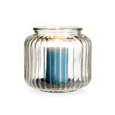 Windlicht Glas gerillt klar ca D:14 x H:18 cm