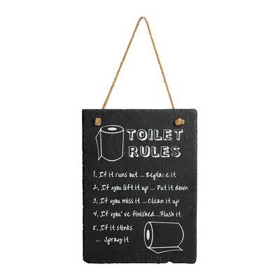 Schild Toilet rules schwarz ca B:15 x L:20 cm
