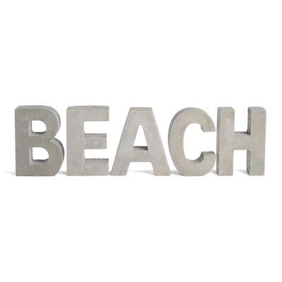 Buchstaben Beach Zement ca H:10cm, hellgrau