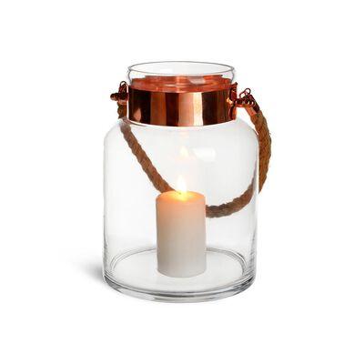 Windlicht Glas Kupfer klar ca D:18 x H:25 cm