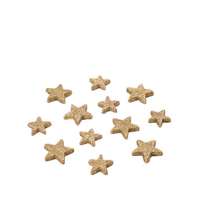 Streuartikel Glimmersterne 12 Stk Styropor gold ca D:5 cm
