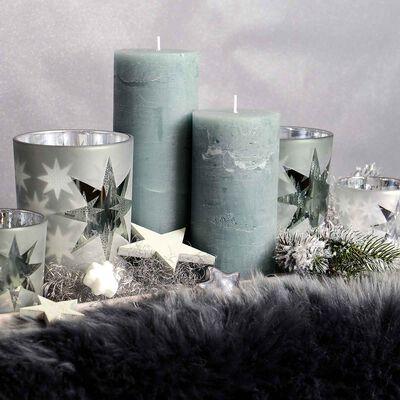 Kerze Rustic mintgrün ca D:7,5 x H:15 cm