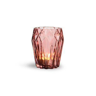 Windlicht Glas altrosa ca D:11 x H:13 cm