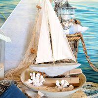 Dekoobjekt Segelschiff ca H:96cm, creme