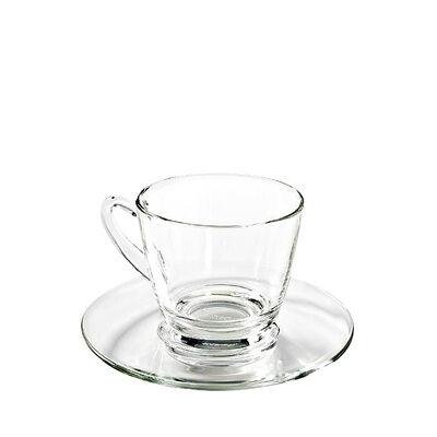 Kaffeetasse mit Untertasse Glas 245 ml