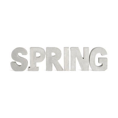 Schriftzug Spring 6er Set Zement hellgrau ca H:10 cm