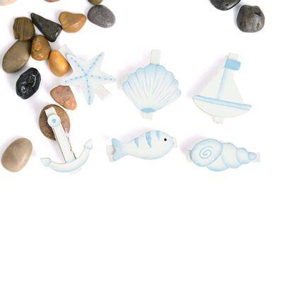 Klammern Beach 6er-Set blau ca L:4,8 cm