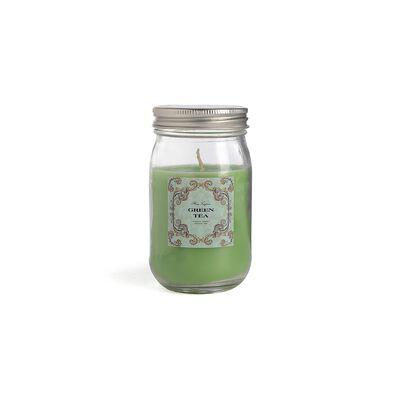 Duftkerze im Glas mit Deckel grün ca D:7 x H:13,5 cm