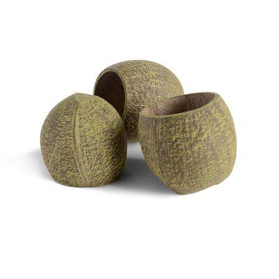 Kokosschale 3 Stück grün ca H:9 cm