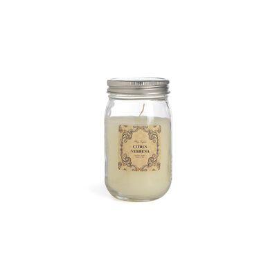 Duftkerze im Glas mit Deckel weiß ca D:7 x H:13,5 cm