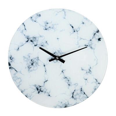 Uhr Mamor Glas weiß ca D:30 cm