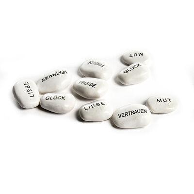 Steine mit Spruch 10er-Set weiß