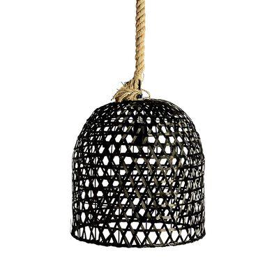 Leuchte mit Seil Eisen schwarz ca D:37 x H:41 cm