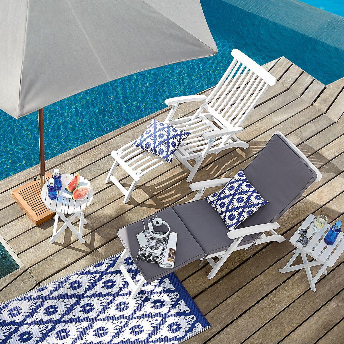 liegestuhl inklusive auflage akazienholz 100 fsc zertifiziert wei ca b 77 x l 166 x h 93 cm. Black Bedroom Furniture Sets. Home Design Ideas