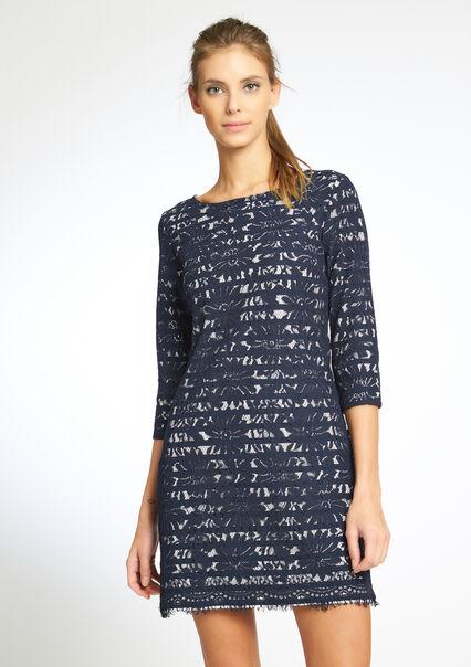 Geprinte kanten jurk met 3/4 mouwen - NAVY INK - 08004685_1684