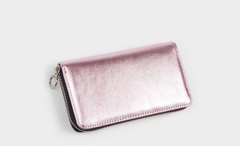 Metallic portefeuilletasje roze