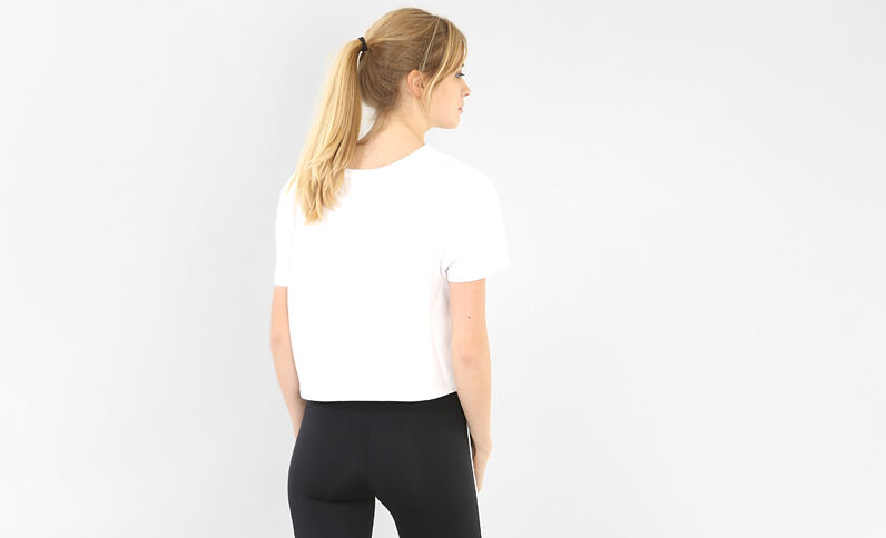 Cropped T-shirt met opschrift wit
