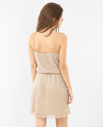 Plissiertes Kleid in Metallic-Farbe Gold