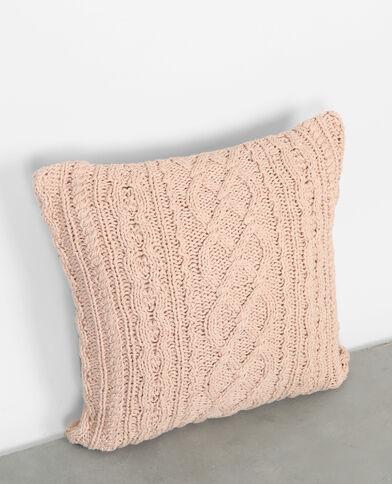 Housse de coussin tricot rose