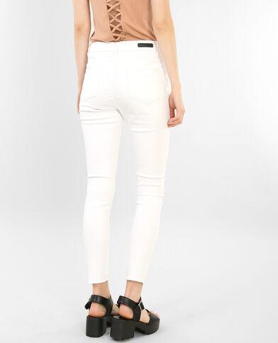 Skinny-Jeans Raw-Cut Naturweiß