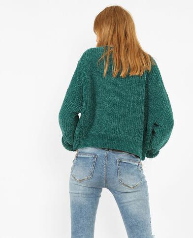 Pullover aus Chenillegarn Grün